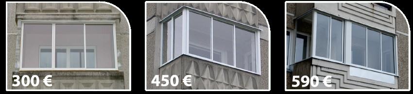 Balkonu stiklinimo kainos